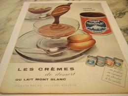 ANCIENNE PUBLICITE CREMES DE DESSERT  LAIT MONT BLANC 1959 - Affiches