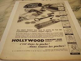 ANCIENNE AFFICHE  PUBLICITE DANS LA POCHE  CHEWING GUM HOLLYWOOD 1959 - Affiches
