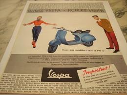 ANCIENNE  PUBLICITE SCOOTER ROULEZ  VESPA 1959 - Transportation
