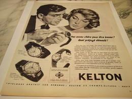 ANCIENNE PUBLICITE PAS ASSEZ CHERE  MONTRE KELTON  1959 - Joyas & Relojería