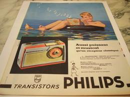ANCIENNE PUBLICITE PUISSANT ET MUSICAL TRANSISTOR RADIO PHILIPS 1959 - Autres