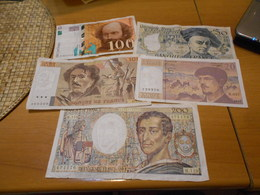 FRANCE      5   BILLETS  LOT - 1962-1997 ''Francs''