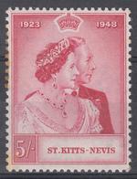St.KITTS - NEVIS 1948 KGVI SILVER WEDDING 5/-  MNH  SOME RUST - San Cristóbal Y Nieves - Anguilla (...-1980)