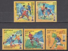 INDIA 2018,  Odisha Men's HOCKEY  WORLD CUP  5 Stamps Complete Set. Sports,  MNH(** - Ongebruikt