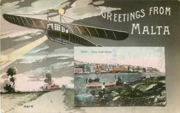 MALTE  GREETINGS FROM MALTA AVIATION GRAND HARBOUR - Malta