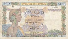 Billet 500 F La Paix Du 19-3-1942 FAY 32.31 Alph. P.4998 - 500 F 1940-1944 ''La Paix''