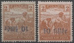 Blue Reverse 10 Fill. Number 1919 Romania Occupation Temesvár Timisoara Transylvania Serbia Hungary HARVESTER Overprint - Transylvanie