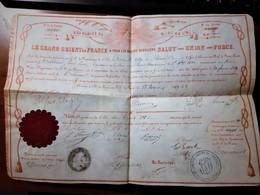 FRANC MACONNERIE DIPLOME DU GRAND ORIENT 1869 VELIN CACHET CIRE ROSE-CROIX LE HAVRE ST-PIERRE-MARTINIQUE Franc-maçon - Documents Historiques