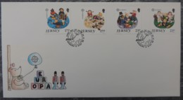 Jersey 1989 Europa Childrens Toys And Games FDC 4 Values - Jersey