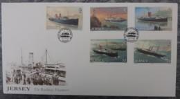 Jersey 1989 Steamers Great Western Railway FDC 5 Values  Ships - Jersey