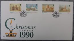 Jersey 1990 Christmas Parish Churches FDC 4 Values - Jersey