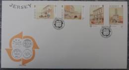 Jersey 1990 Europa Post Office Buildings FDC 4 Values  Postal - Jersey