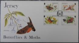 Jersey 1991 Butterflies And Moths FDC 4 Values  Insects - Jersey