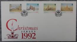 Jersey 1992 Christmas Parish Churches FDC 4 Values  Religion - Jersey