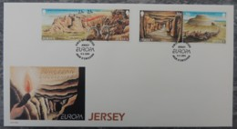 Jersey 1994 Europa Archaeological Discoveries FDC 4 Values  Stone Age Mammoth Contruction - Jersey