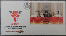 Jersey 1994 50th Anniversary Liberation FDC Miniature Sheet  WWII KGVI QEII Churchill Royalty - Jersey