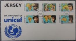 Jersey 1995 UNICEF FDC 6 Values  Maps Children - Jersey