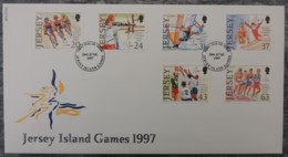 Jersey 1997 Island Games FDC 6 Values  Sport Cycling Archery Windsurfing Gymnastics Volleyball Running - Jersey