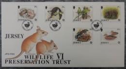 Jersey 1997 Wildlife Preservation Trust FDC 6 Values  Animals Toad Parakeet Teal Whiptail Lizard Hog Birds - Jersey