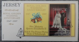 Jersey 1998 Golden Royal Wedding Miniature Sheet M/s 1 Value £1 FDC  Royalty QEII Bells - Jersey