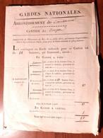 ORDONNANCE DE 4 PAGES CARCASSONNE GARDES NATIONALES CANTON DE CONQUES GARDE A CHEVAL TABLEAU MILITAIRE GUERRE 1817 AUDE - Documenti Storici