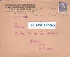 """LAC 1953 - METZ (Moselle) Ass.Nat.des Anciens Combatants Du WARNDT """"Faulquemont Et Ligne Maginot"""" - YT 883 - Postmark Collection (Covers)"""