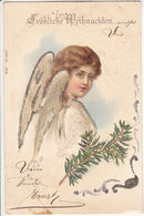 Froehliche Weihnachten! Merry Christmas! Angel, Cherub, Glitter 1900 - Postcards