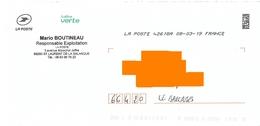 Enveloppe Service Lettre Verte La Poste Demi Toshiba Saint Laurent De La Salanque Pyrénées Orientales - Documenten Van De Post