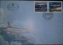 L) 1995 YUGOSLAVIA, AIRPLANE, CARAVELLE, 2,20, DOUGLAS DC-3, FDC - FDC