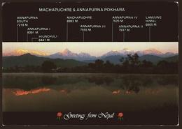 Greetings From Nepal  -  Machapuchre & Annapurna Pokhara  -  Namaste  -  Ansichtskarte Ca. 1991  (10407) - Nepal