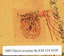 1889-PARROT-REVENUE STAMP 8a- PRE DECIMAL-ON BILL OF EXCHANGE -C.V. $100-RARE-SM-95 - Wechsel