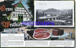 110049 GERMANY GRUSS AUS WESTFALEN ART AND MULTI VIEW BREAK CIRCULATED TO CHILE POSTAL POSTCARD - Allemagne