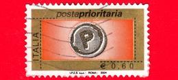 ITALIA - Usato - 2004 -  Posta Prioritaria - Serie Ordinaria - 2 Gennaio 2004 - Impronta Della Lettera  - 0.60 - 6. 1946-.. Repubblica