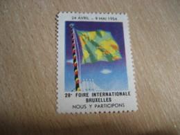 BRUXELLES 1954 Foire Internationale Fair Poster Stamp Label Vignette BELGIUM - Commemorative Labels