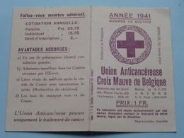 Union Anticancéreuse - CROIX MAUVE De BelgiqueAnnée 1941 ( Zie Foto's ) Anti KANKER ! - Calendriers