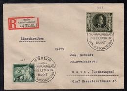 BERLIN CHARLOTTENBURG - ALLEMAGNE - III REICH / 1943 LETTRE  RECOMMANDEE  POUR METZ - EINSCHREIBEBRIEF (ref LE3393) - Germany