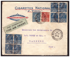 2 Blocs De 4  Du N°273 + 1 + 272 Et205 Sur Lettre Rec De MARSEILLE Pour BANGKOK Du 25.11.31. - France