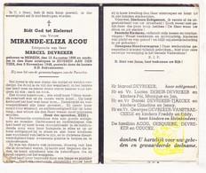 DP Mirande E. Acou ° Merkem Houthulst 1888 † Beveren Ad IJzer Alveringem 1948 X Devreker / Debeir Tjaeckx Vanstraeceele - Images Religieuses