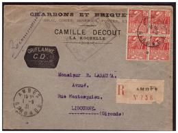 Bloc De 4  Du N°272 Sur Lettre Rec. D' AMBES Pour LIBOURNE Du 1.8.31. - France