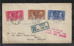 Bermuda 1937 FDC Coronation Set Registered Mail ,Unopened !!? ,VF !! (RN-7) - Bermuda