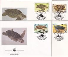 Anguilla 1983, 4 FDC's WWF, Complete Set Turtles. Cv 18 Euro - Anguilla (1968-...)