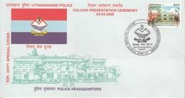 India  2008  Police Headquarters  Uttarakhand Police  Dehradun  Special Cover  #  17944   D Inde Indien - Police - Gendarmerie