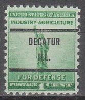 USA Precancel Vorausentwertung Preo, Bureau Illinois, Decatur 899-71 - Vereinigte Staaten