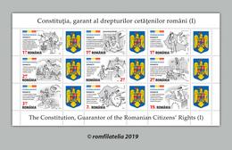 Romania 2019 / The Romanian Constitution / Block Of 9 Stamps - 1948-.... Républiques