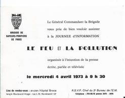 PARIS BRIGADE SAPEURS POMPIERS INVITATION 1973 FEU ET POLLUTION  DOUBLE PAGE PROGRAMME - Announcements