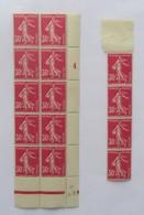 Semeuse 30 C. Rose  Type I Bloc De 10 Millésime 24 + Bande De 4 - Pas Cher - 1906-38 Semeuse Camée