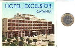 ETIQUETA DE HOTEL  -  HOTEL EXCELSIOR  -CATANIA  -SICILIA - Hotel Labels