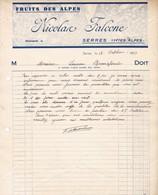 05 SERRES Hautes ALpes COURRIER 1939 Fruits Des Alpes Nicolas FALCONE  X32 Près GAP - 1900 – 1949