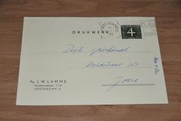 75-   BEDRIJFSKAART, FA. J.W. LAMME - AMSTERDAM-Z. - 1961 - Andere