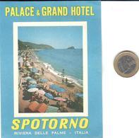 ETIQUETA DE HOTEL  - PALACE & GRAND HOTEL  -SPOTORNO  -ITALIA - Hotel Labels